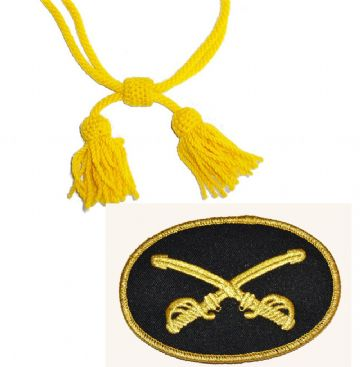 Yellow Cavalry Sewn Badge & Wool Hat Cord
